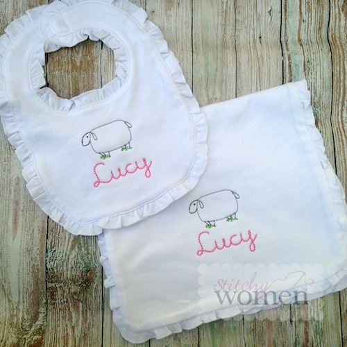 Sheep Ruffled Bib/Burp Cloth Set -- Cursive font