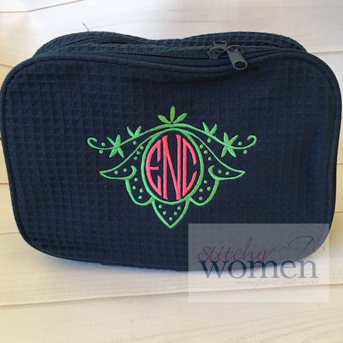 Monogrammed Waffle Weave Cosmetic Bag